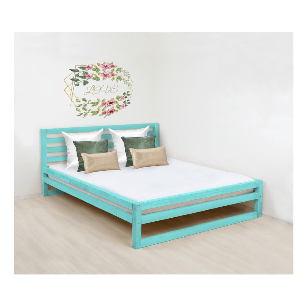 Tyrkysovomodrá drevená dvojlôžková posteľ Benlemi DeLuxe, 190 × 160 cm