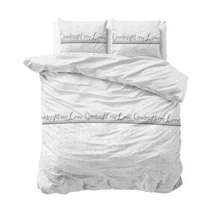 Biele obliečky z mikroperkálu Sleeptime Goodnight my Love, 200×220 cm