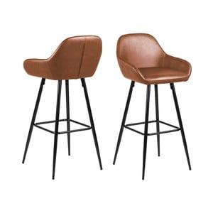 Koňakovohnedá barová stolička s kovovým podnožím Actona Candis