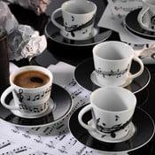 Sada 6 porcelánových hrnčekov s tanierikom Kutahya Song