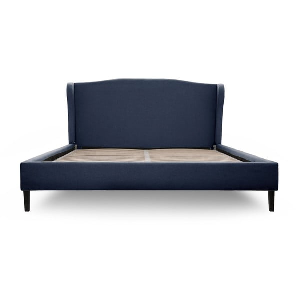 Tmavomodrá posteľ VIVONITA Windsor 140x200cm, čierne nohy