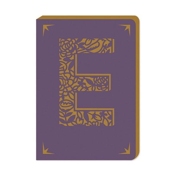 Linajkový zápisník A6 s monogramom Portico Designs E, 160stránok