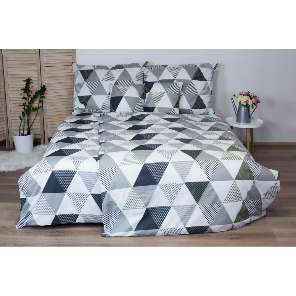 Sivé bavlnené posteľné obliečky Cotton House Trion, 140 x 200 cm