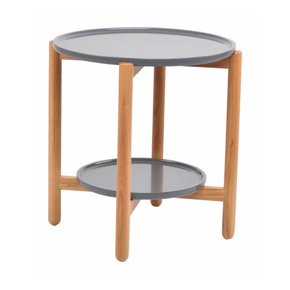 Sivý dubový stolík Folke Wendigo, ⌀ 55 cm