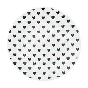 Keramický tanier Miss Étoile Black Hearts, ⌀ 25 cm