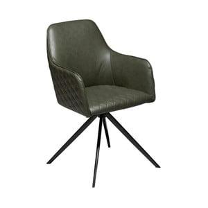 Tmavozelená jedálenská stolička z eko kože s opierkami DAN–FORM Denmark Twine