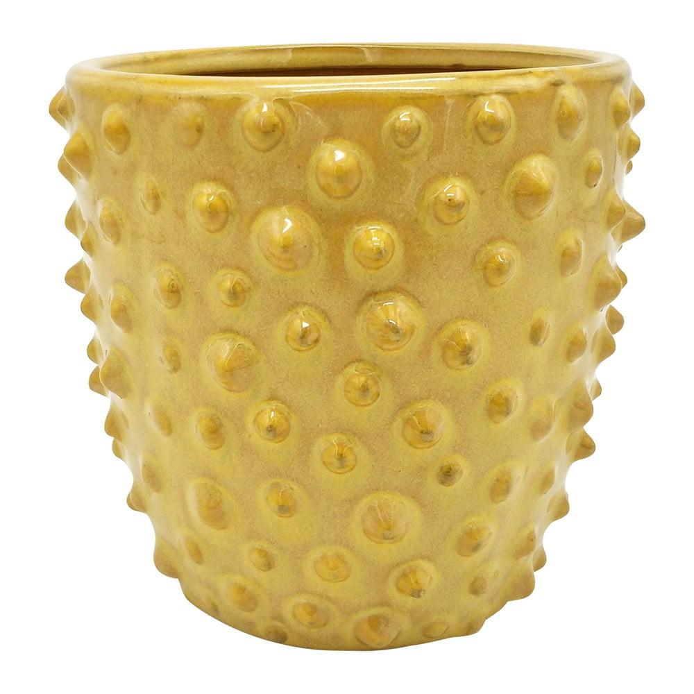 Žltý keramický kvetináč PT LIVING Spotted, ø 14 cm