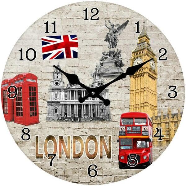 Sklenené hodiny Dominanty Londýna, 34 cm