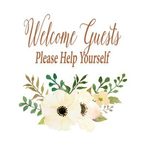Plagát v drevenom ráme Welcome guest, 38x28 cm