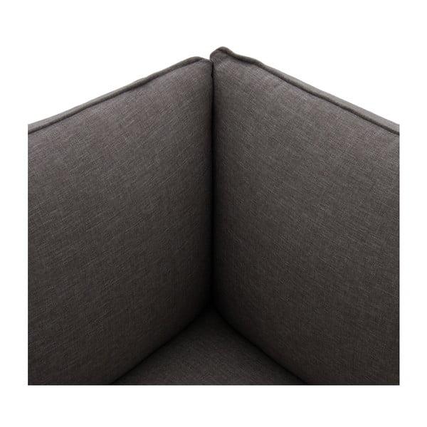 Tmavosivá trojmiestna pohovka s podnožkou VIVONITA Cube