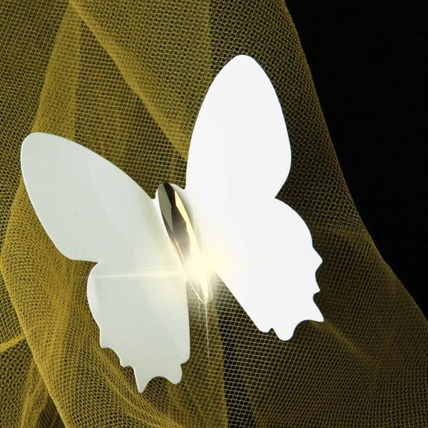 Sada 12 bielych 3D samolepiek Ambiance Fanastick Diamond Butterflies