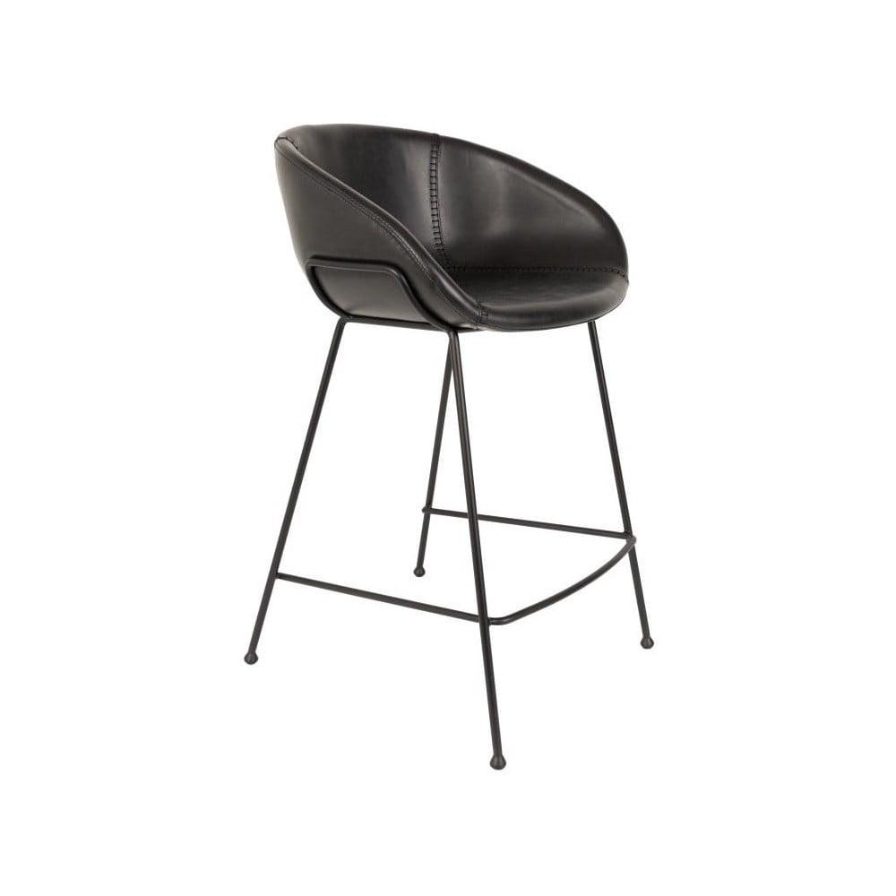 Sada 2 čiernych barových stoličiek Zuiver Feston, výška sedu 65 cm