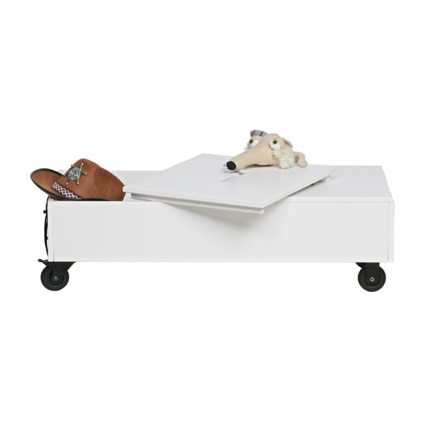 Biely pojazdný úložný box z borovicového dreva WOOOD Elon