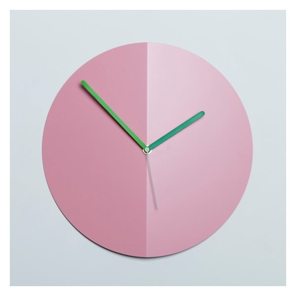Nástenné hodiny Mountain Fold, ružové