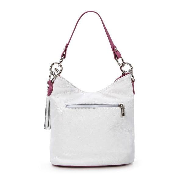 Kožená kabelka Luigi, biela/fuchsia