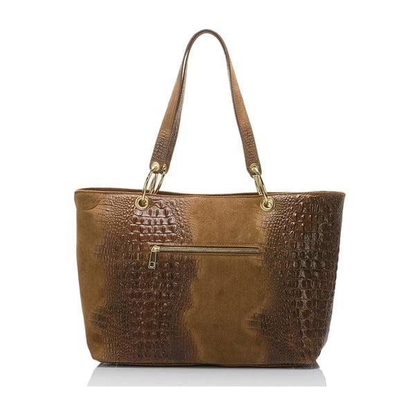 Hnedá kožená kabelka s třásní Massimo Castelli Crocco Suede