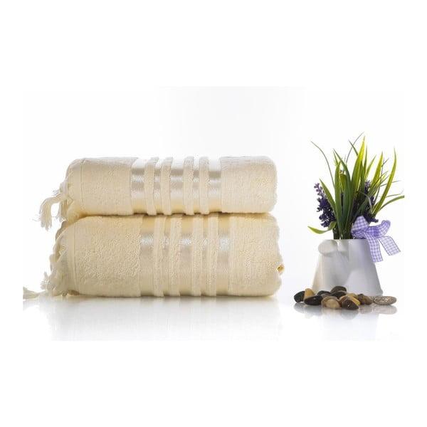 Set krémovej bavlnené osušky a uteráku Ladik Eleanor