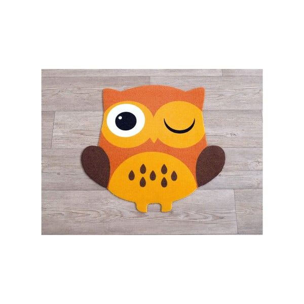 Koberec Owls - oranžová sova, 100x100 cm