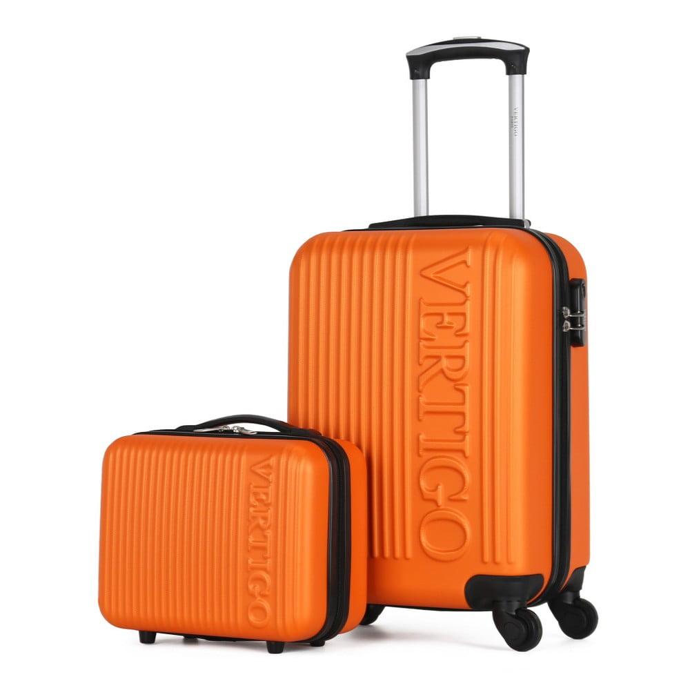 Sada oranžového cestovného kufra na kolieskach a menšieho kufríka VERTIGO Valises Cabine & Vanity Case