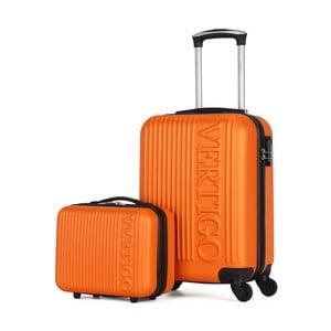 Sada 2 oranžových cestovných kufrov na kolieskach VERTIGO Valises Cabine & Vanity Case