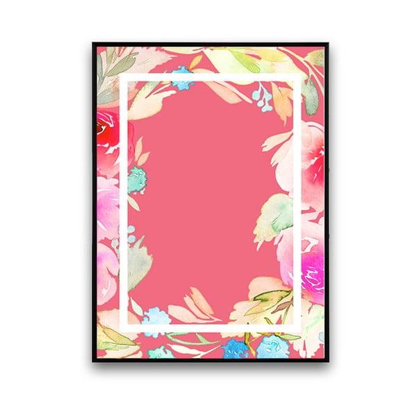 Plagát s kvetmi, ružové pozadie v rámčeku, 30 x 40 cm