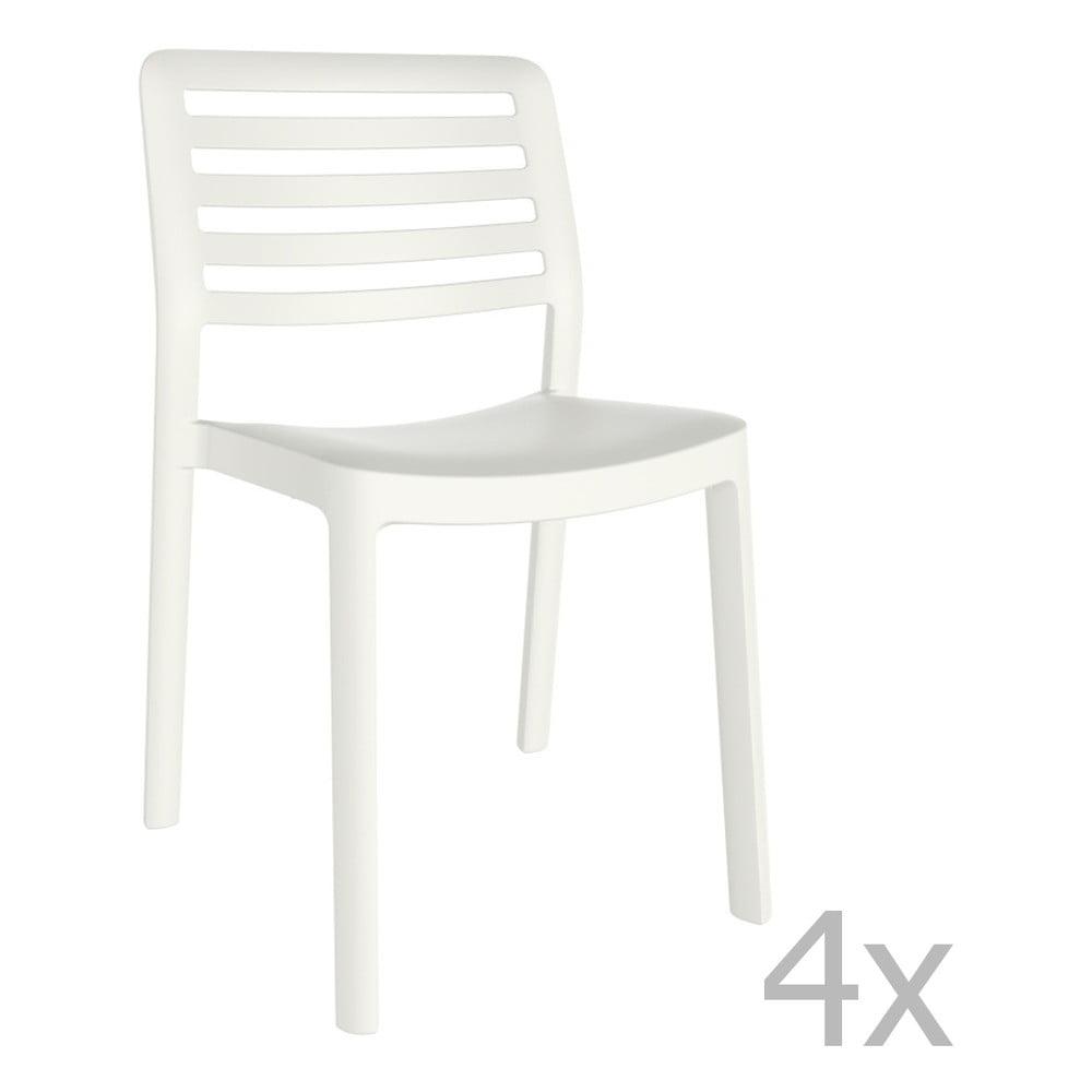 Sada 4 bielych záhradných stoličiek Resol Wind