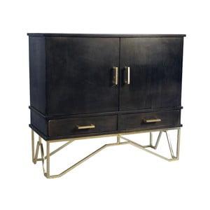 Čierna komoda z mangového dreva s detailmi v zlatej farbe Miloo Home Savoy