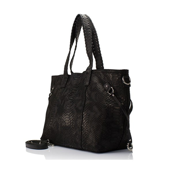 Kožená kabelka Piton, čierna