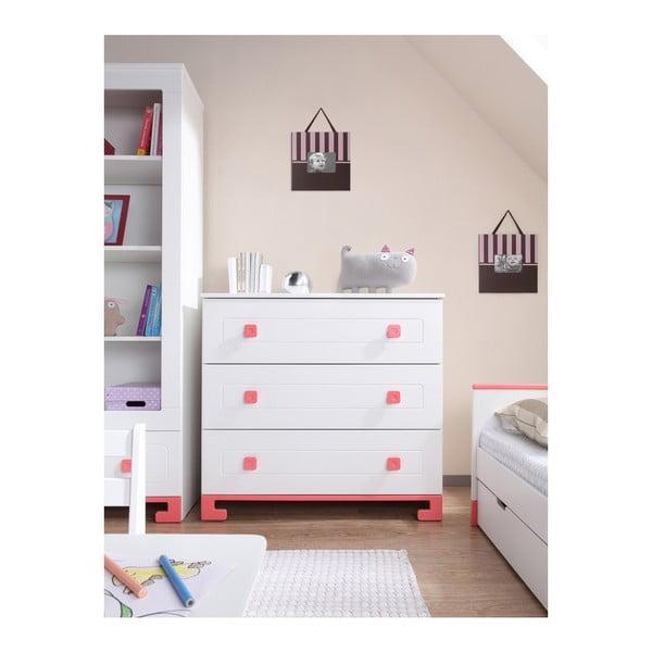 Biela jednolôžková posteľ zmasívneho borovicového dreva s ružovými detailmi Pinio ToTo, 200×90cm