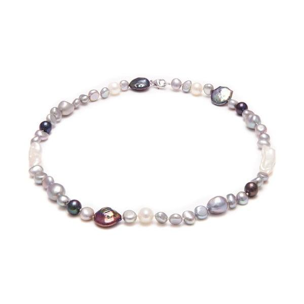 Náhrdelník z riečnych perál GemSeller Ruscus, sivé perly