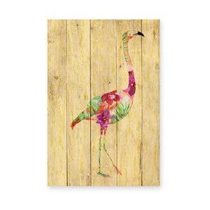 Nástenná dekorácia z borovicového dreva Madre Selva Flowers Flamingo, 60×40 cm