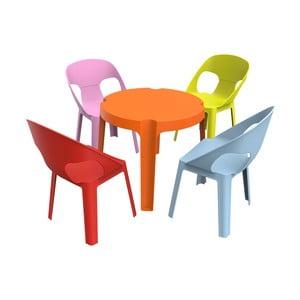 Detský záhradný set 1 oranžového stola a 4 stoličiek Resol Julieta