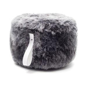 Sivo-biely okrúhly puf z ovčej vlny Royal Dream