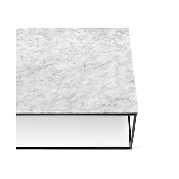 Biely mramorový konferenčný stolík s čiernymi nohami TemaHome Gleam, 120cm