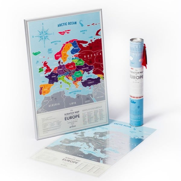 Stieracia mapa Európy Travel Map of the Europe Silver, 60x40 cm
