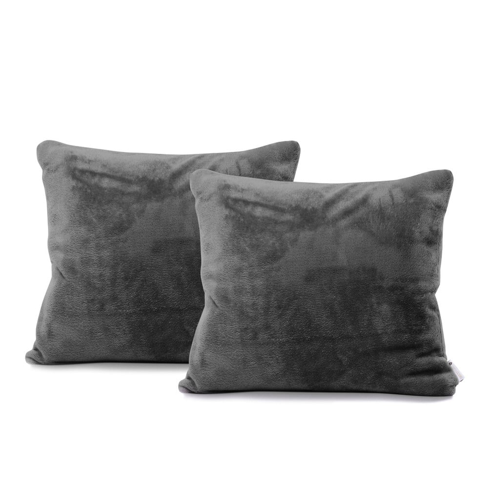 Sada 2 tmavosivých obliečok na vankúše DecoKing Mic, 45 × 45 cm