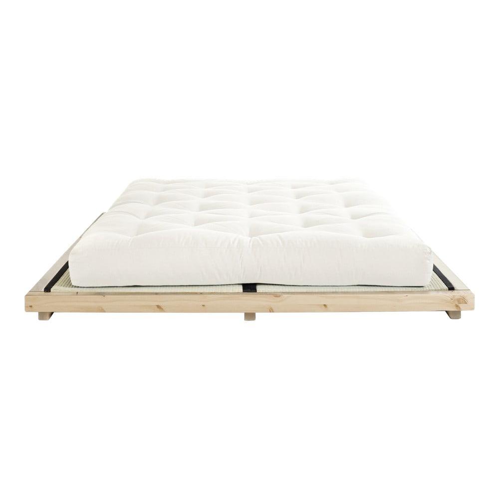 Dvojlôžková posteľ z borovicového dreva s matracom a tatami Karup Design Dock Comfort Mat Natural/Natural, 180 × 200 cm