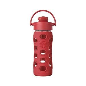 Sklenená fľaša na vodu so silikónovým chráničom Lifefactory Flip Strawberry, 350 ml