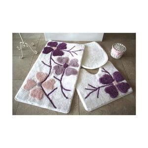 Sada 3 fialovo-bielych predložiek do kúpeľne Alessia Flowers