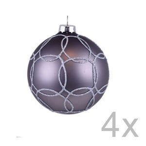Sada 4 sivých závesných vianočných gulí na stromček Ego Dekor Milato
