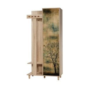 Hnedá predsieňová stena Garmanto Tree, výška 181 cm