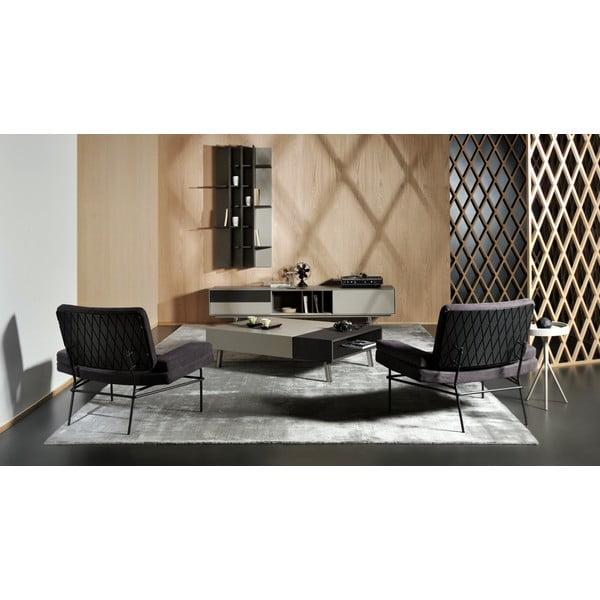 Konferenčný stolík Vintme AL2, černá/dub