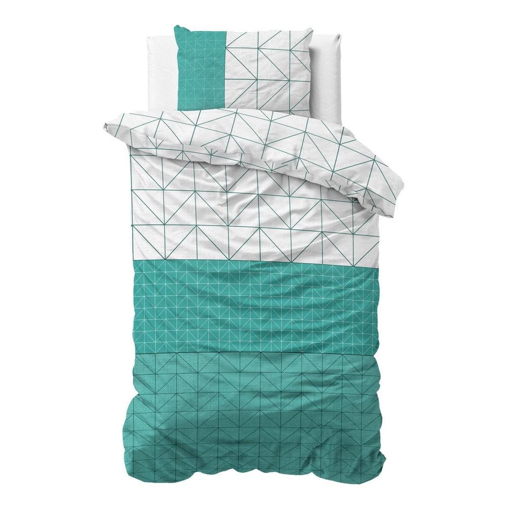 Zeleno-biele bavlnené obliečky na jednolôžko Sleeptime Gino, 140 × 220 cm