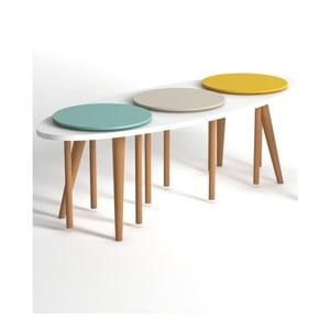 Konferenčný stolík s modrými a žltými detailmi Monte Venti