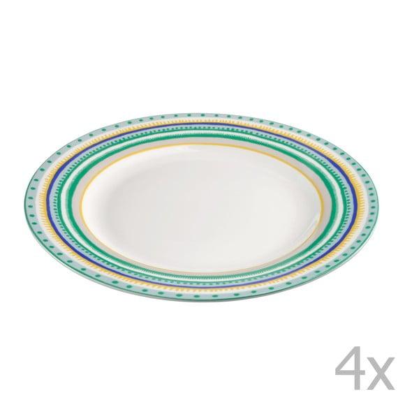 Sada 4 porcelánových tanierikov Oilily 22cm, zelená
