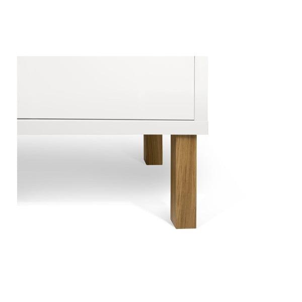 Biela nízka komoda s drevenými nohami TemaHome Niche