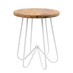 Biely stolík s doskou zmangového dreva HF Living Round