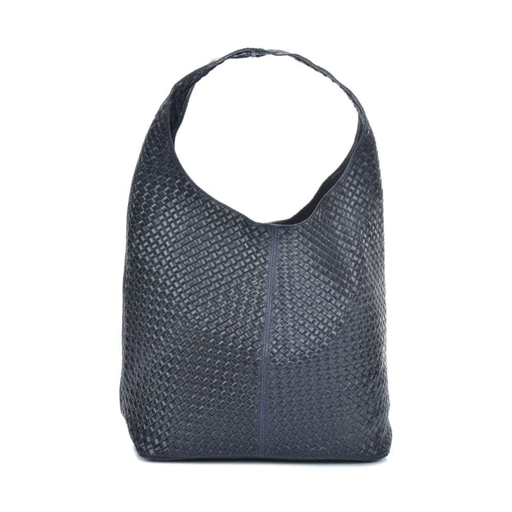 Tmavomodrá kožená kabelka Mangotti Bags Barbara
