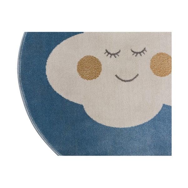 Modrý okrúhly koberec s motívom mraku KICOTI Cloud, 100 × 100 cm