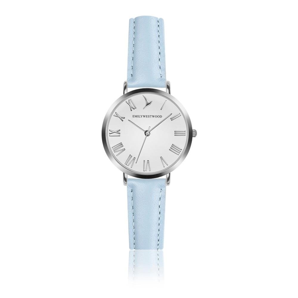 Dámske hodinky so svetlomodrým remienkom z pravej kože Emily Westwood Pastel